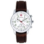 Commando Chrono, White Dial, Brown Leather Strap